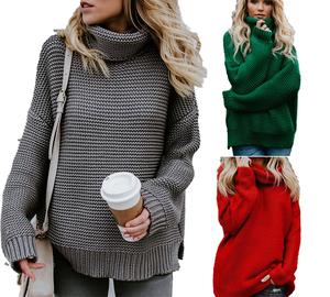 2019 hot sale Autumn Winter women Knit Pullover Sweaters Long Sleeves sweater  Women Turtleneck Sweater