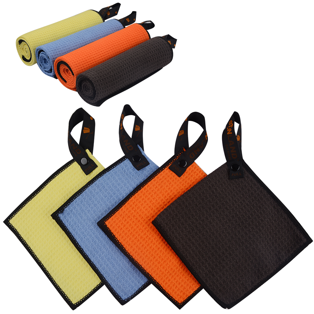 Custom Printed Logo MicroFiber Waffle Weave Style Microfiber Golf Towel with Grommet and Carab