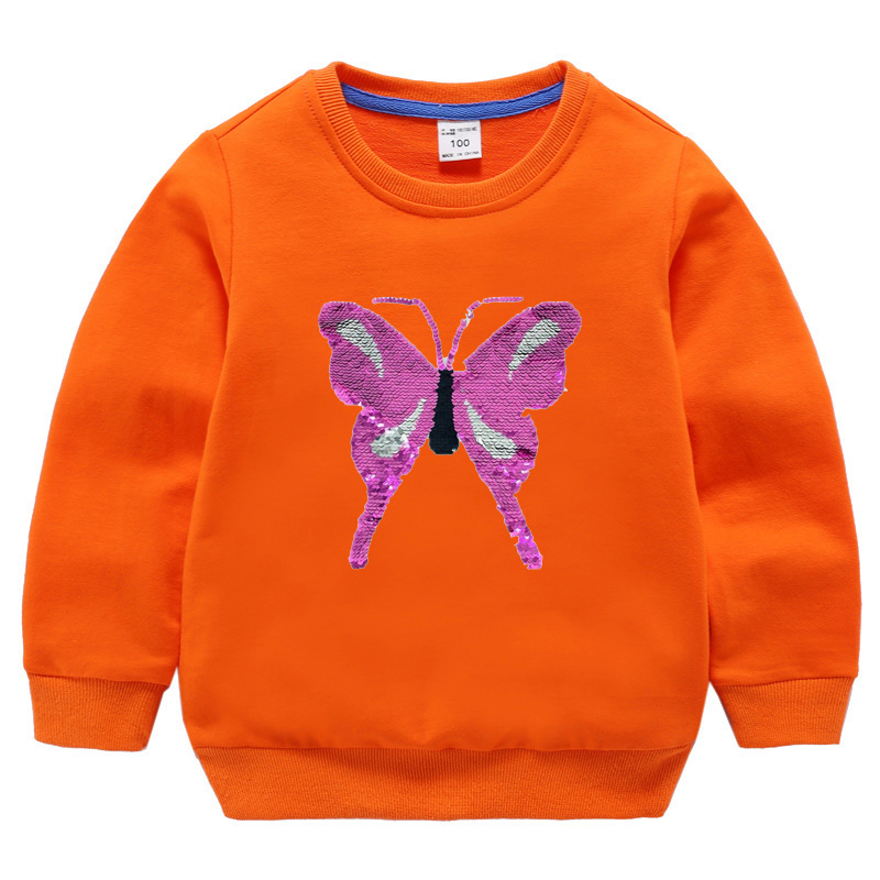 Children Plain Custom Hoodies Little Girls Sweatshirt with Sequin Butterfly Cotton Crewneck Pullovers without Hood