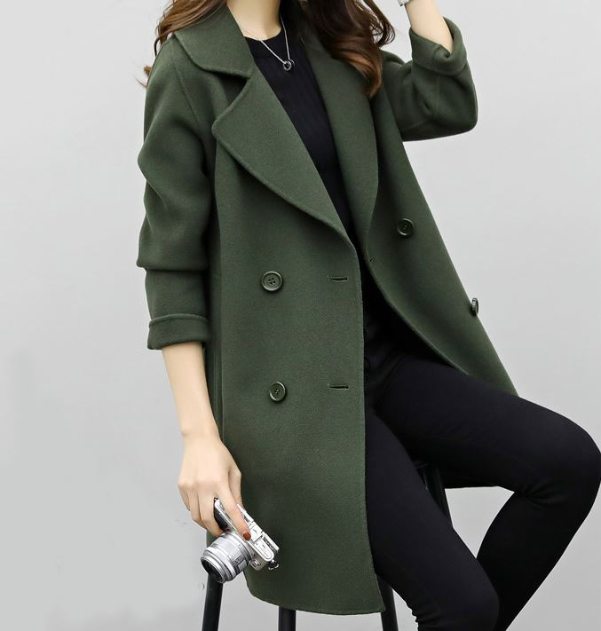 Wholesale New design autumn winter women girls long sleeve lapel double-breasted button trench coat fashion woolen long coats