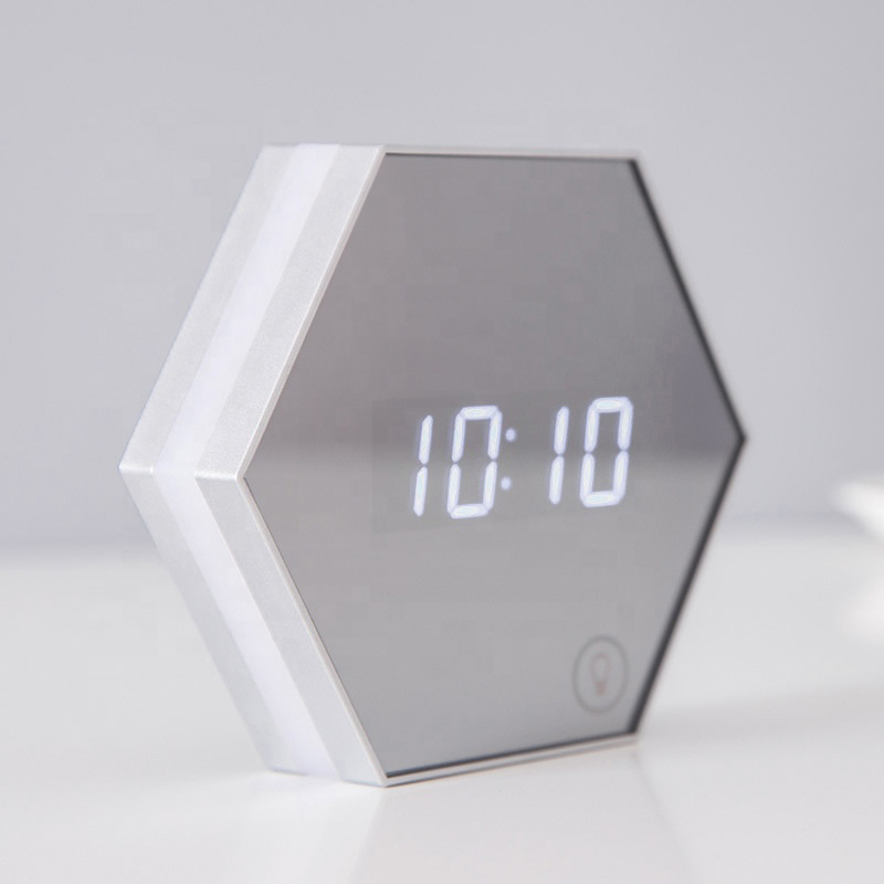 USB Rechargeable Touch Sensor Control Table Desktop Night Light LED Mirror Alarm Clock Digital