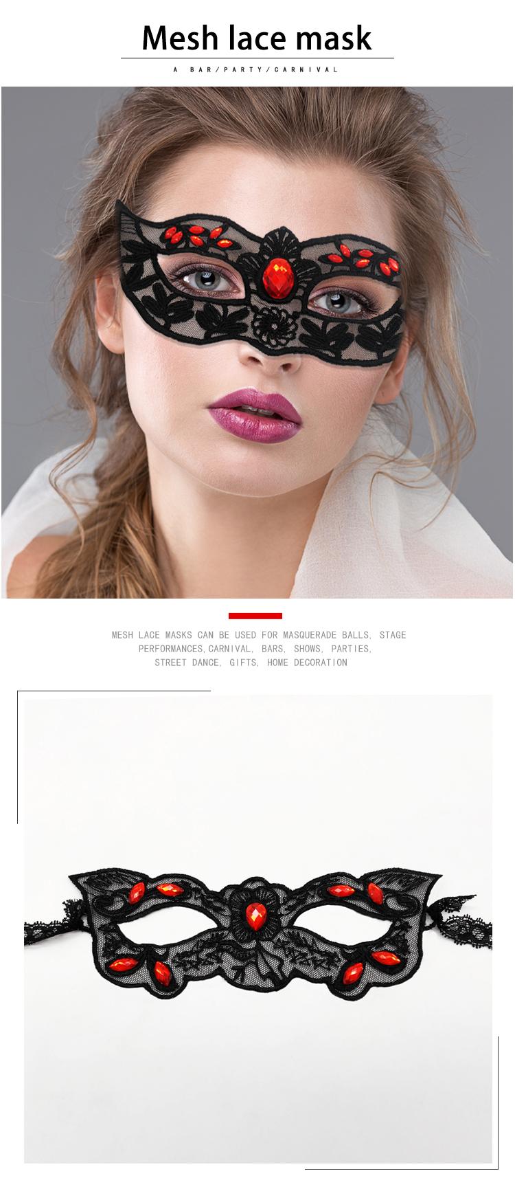 Pabrik Langsung Hitam Mesh Renda Masquerade Berlian Seksi Topeng Halloween Pesta Seksi Masker