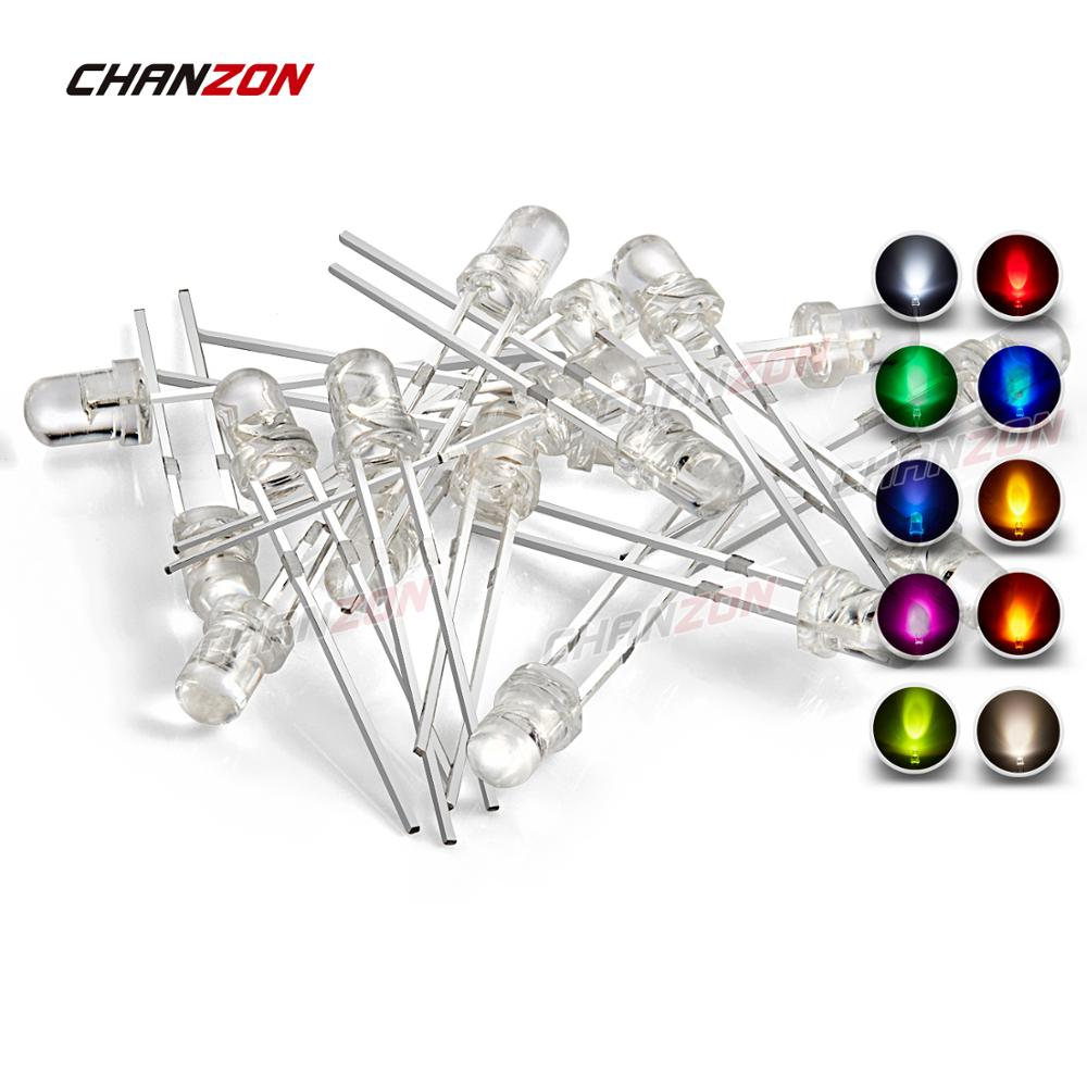 3mm LED Light Emitting <strong>Diode</strong> Lamp Round Clear 2V 3V (Warm White Red Blue Yellow Green Pink Orange Amber <strong>UV</strong> Ultraviolet)