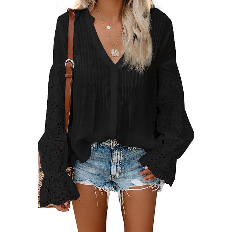 A216 de las mujeres de la moda ojal largo manga botón abajo blusa Top