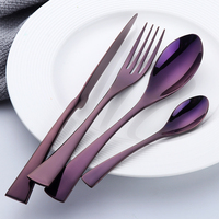 FDA Certificated Purple Color Steel 16pcs Cutlery Sets for Restaurant