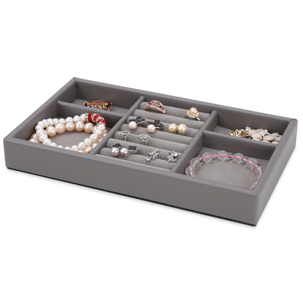 Custom PU jewelry display organizer Leather Tray
