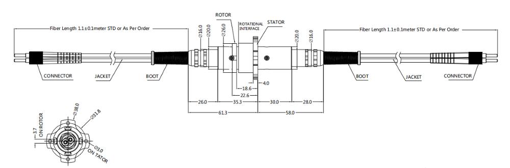 300rpm फाइबर ऑप्टिक रोटरी ज्वाइंट 3 चैनल IP65 IP67 23dBm सिस्टम ऑपरेशन को सरल बनाएं