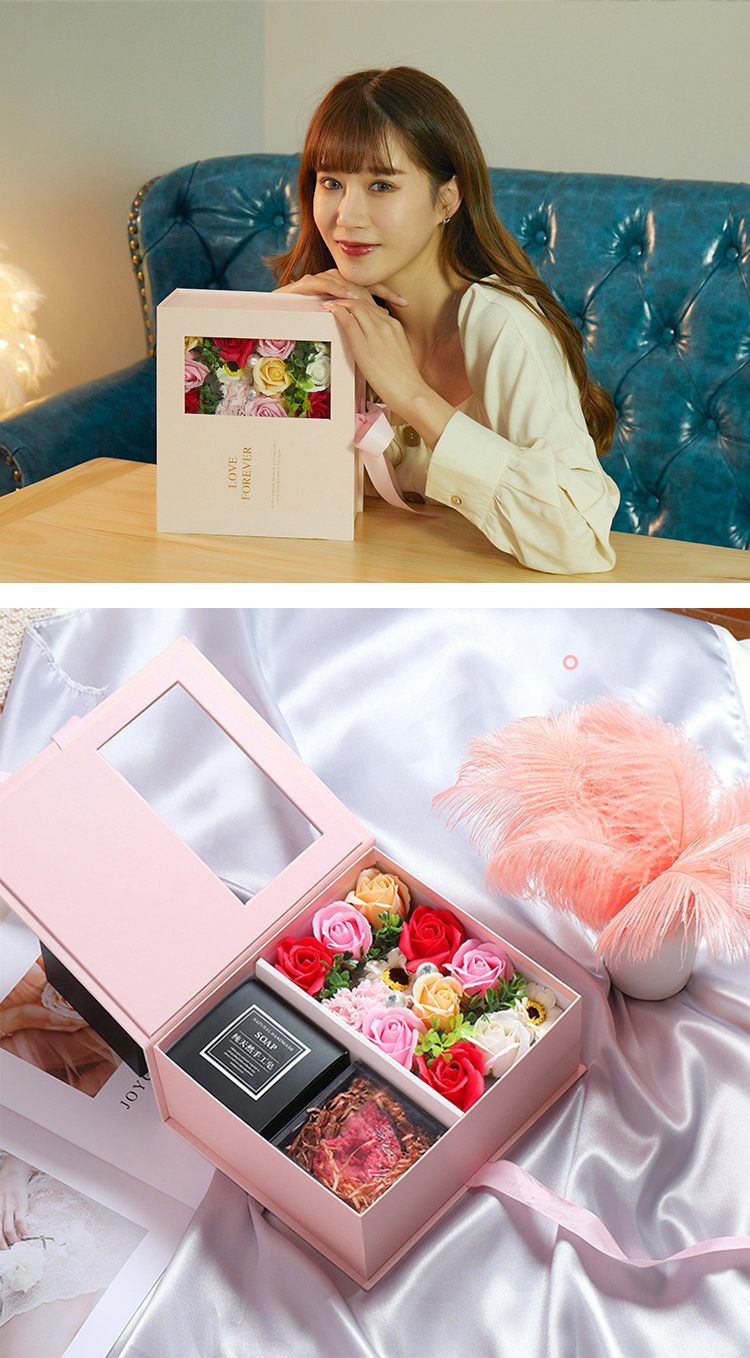 Premium clear window everlasting soap flower custom gift box for birthday valentine Mother's day