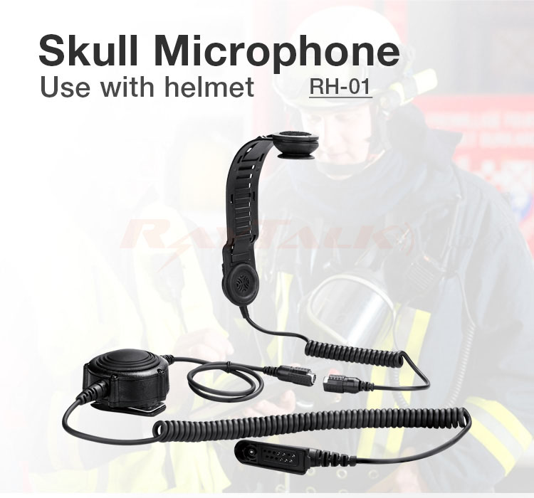 RayTalk RH-01 Big Round PTT Durable Skull Microphone With  Skull Earpiece For Helmet