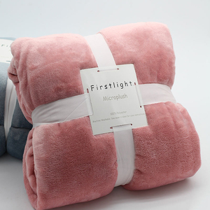 Flannel Corall Fleece Polyester Luxury Plush Velvet Solid Pink Super Soft Manta Office Double Bed Cover Custom Throw Blanket