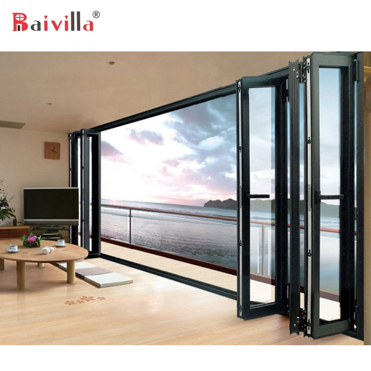 Latest Design Modern Aluminum Security Grill Bi Fold Folding Glass <strong>Doors</strong>