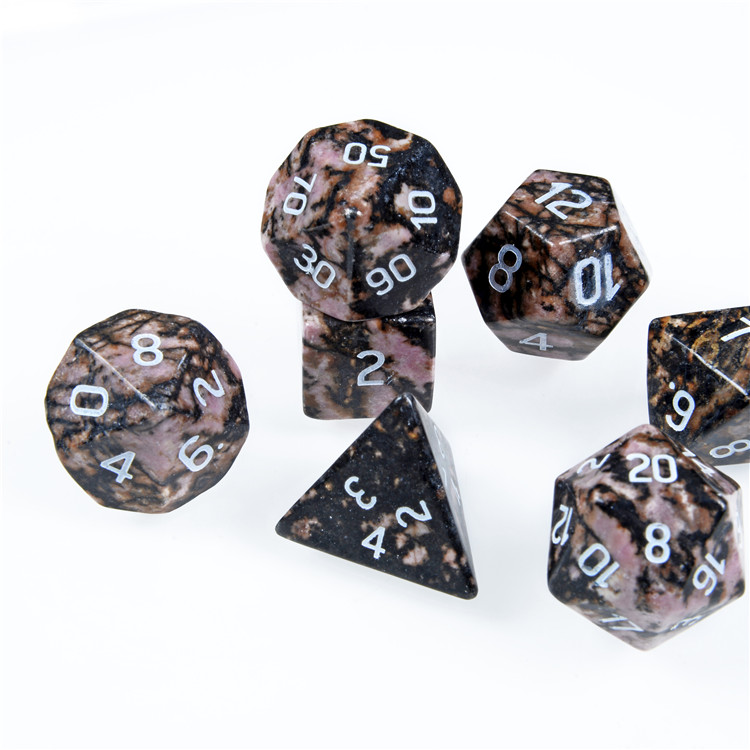 Rhodonite Engraved gemstone dice Game Dice, handmade  custom engrave dice For DnD RPG