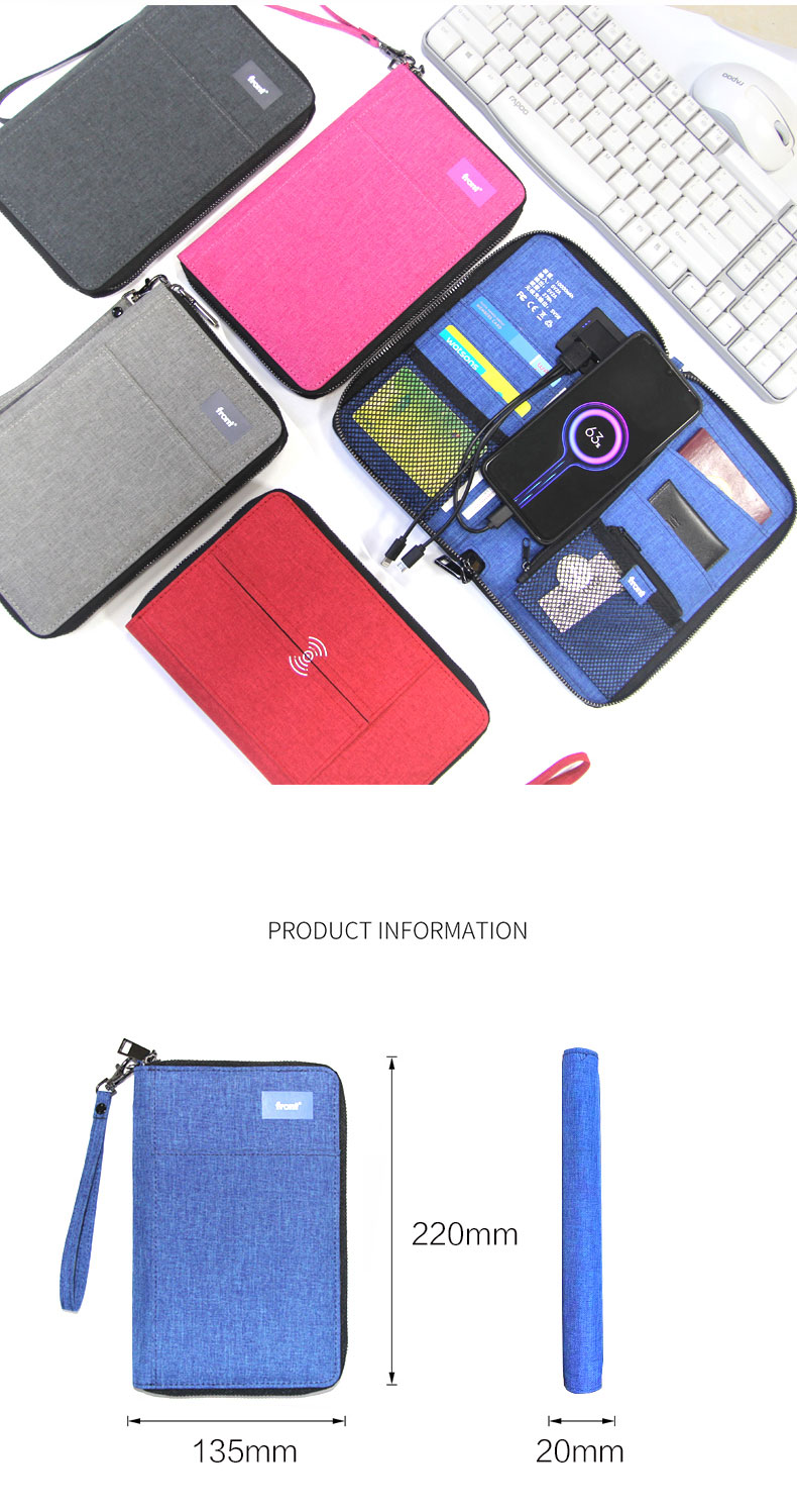 Front Wireless Charger Wired Charging Power Bank PU Leather Power Bank Travel Bag GENUINE Leather Long Fashion Zipper Unisex