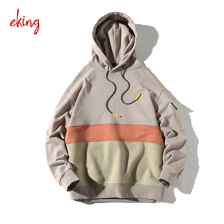 OEM Hoodie Wholesale Newest Style 100% Cotton Cut And Sew Color Block Hoodie