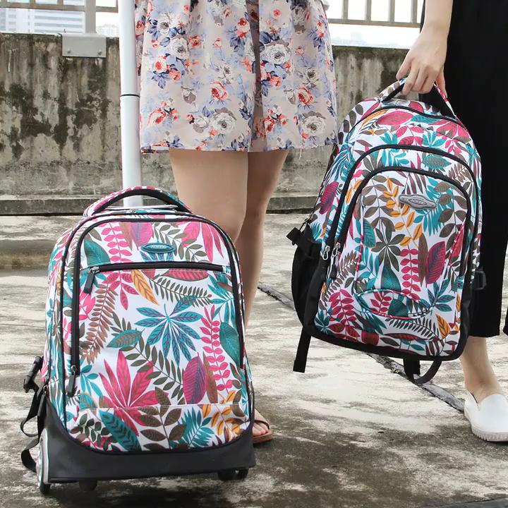 2020 Aoking brand hot selling custom wheeled girl school backpack wheel trolley school bag
