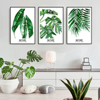 Canvas Painting Wall Art Green Leaf Oil Painting 3 Panel Painting