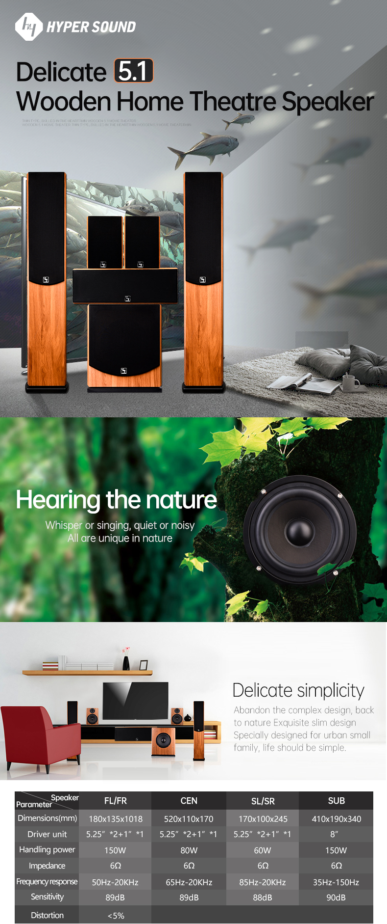 2020 new product 5.1ch wooden home theater speaker subwoofer amplifier for home with piano painting