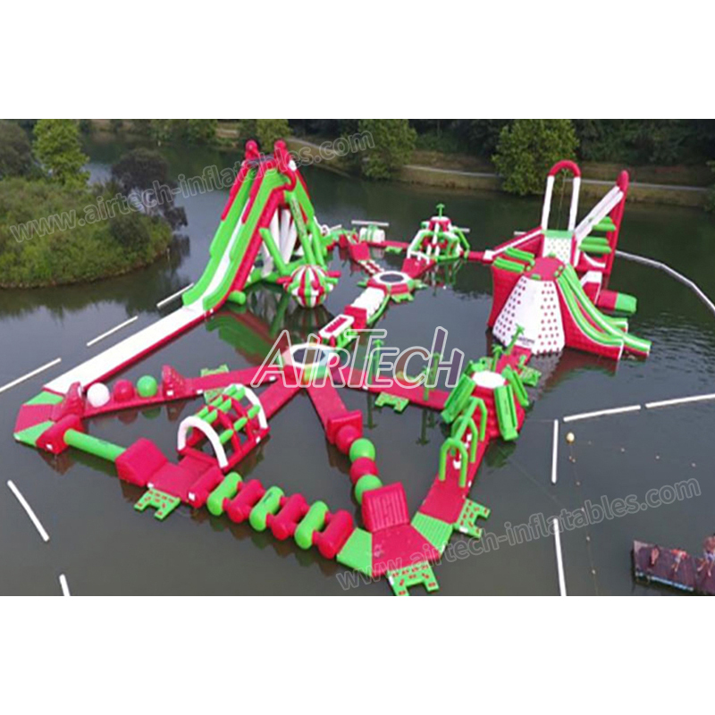 Super exciting adult inflatable water park toy  with giant slide, inflatable floating island