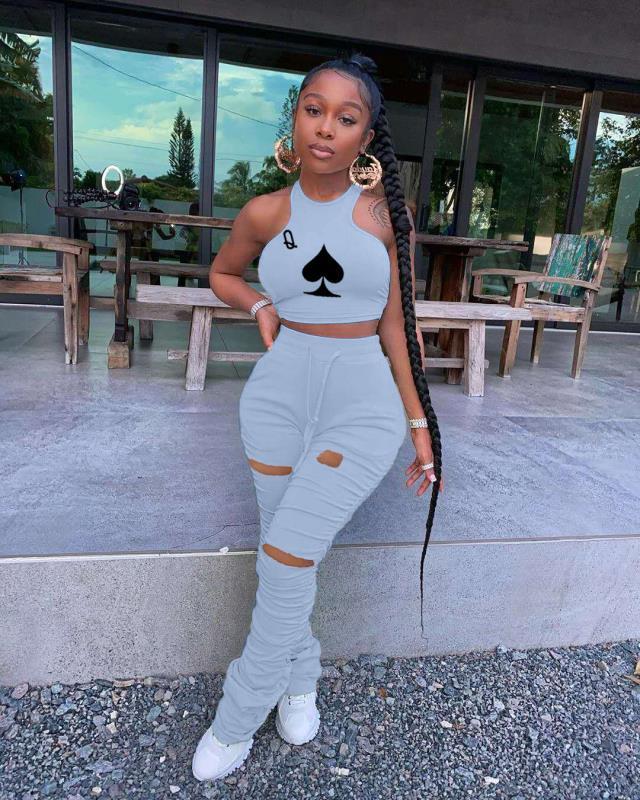2020 mulheres Conjunto Pedaço Empilhados 2 Jumpsuits Rompers Mulheres de Duas Peças Set Roupas Roupas Empilhadas Calças Basculador Sweatpants