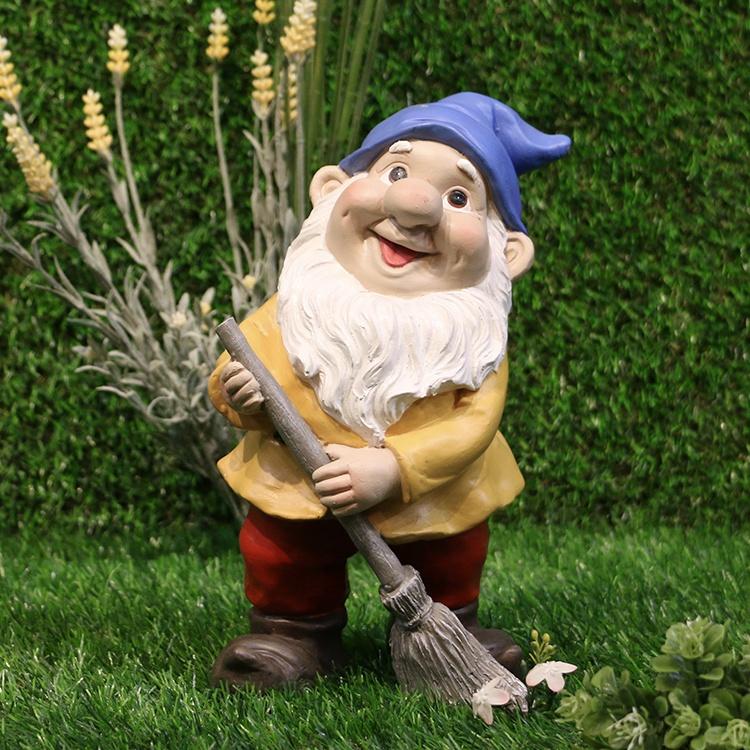 Polyresin Custom Made Holding Bezem Tuin Gnomes, Hars Standbeelden Gnome Tuin Decoraties $