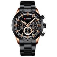 Curren, мужские часы, Топ бренд, роскошные, синие, стальные, кварцевые, 2019, с хронографом, Роскошные мужские часы, синие, стальные, мужские часы, с...(Китай)