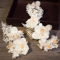 3 Pcs Hay Flower Wedding Hair Accessories Crystal Hair Combs Hairpin Sets Rhinestone Comb For Women Bride Hair Ornaments