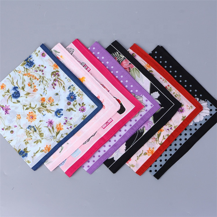 Trendy style cheap floral flower printed cotton women soft handkerchief