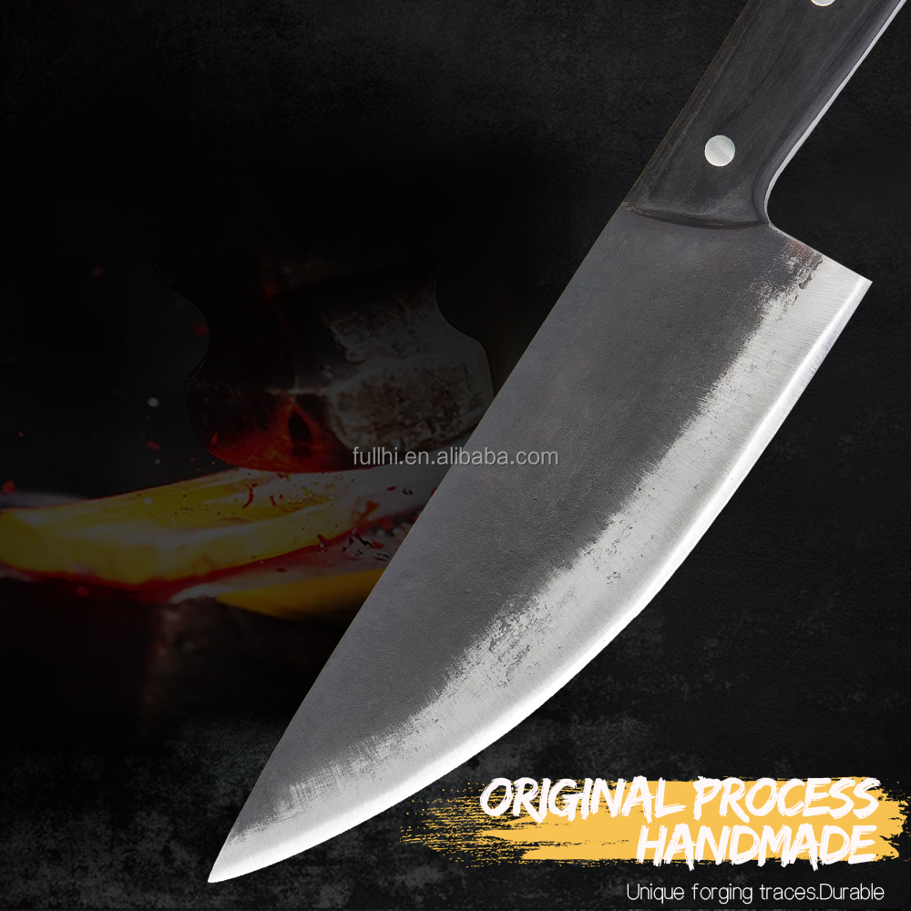 Serbian Style Forged Knife Stainless Steel Camping Cooking Portable Siberian Cutting  Almazan Chef Knife for Outdoor with Sheath