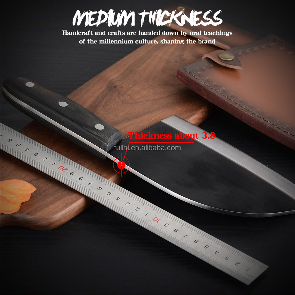 2020New Carbon Steel Full Tang Outdoor Knife Arbiter Cutting Chopping Pakka Wood Heavy Duty Cleaver Butcher Knife with Color Box