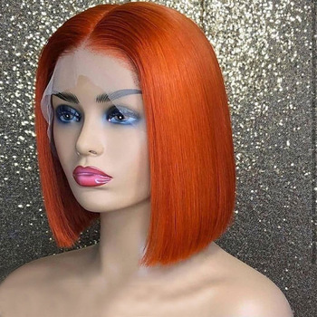 Brazilian Hair Cuticle Aligned Hair Bob Lace Wig , Human Hair Lace Front Wig Orange Wigs For Black Women