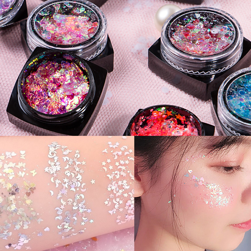 12 Warna Mermaid Glitter Gel Krim Tahap Riasan Wajah Payet Make-Up Musim Panas Palet Eye Shadow