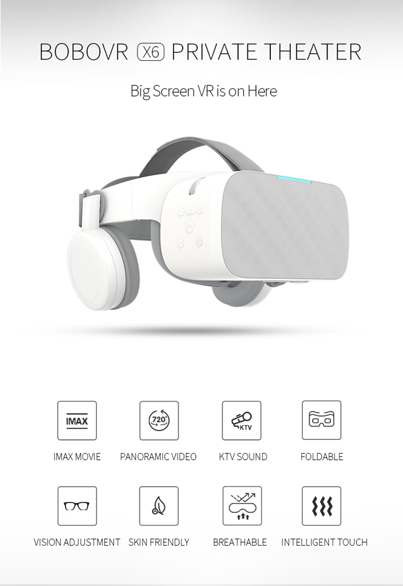 "BOBOVR X6 Virtual Reality Helmet Immersive VR Headset All in One VR Binocular HD Android 5.5"" 3D Glass"