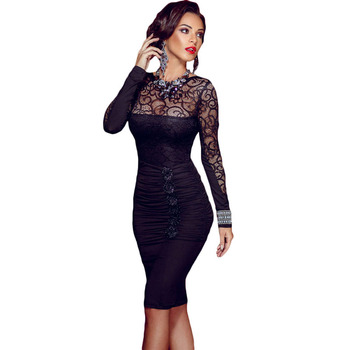 Women New Bodycon Dress Sexy Bandage Black Lace Evening Party Dresses Elegant
