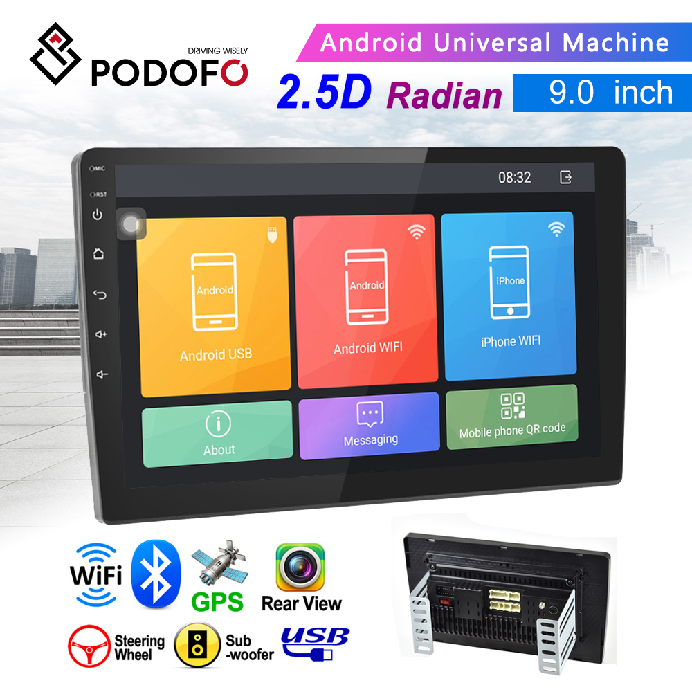 Podofo 9 ''2 + 32GB Android 8.1 Mobil Radio Video Stereo 2 DIN HD 2.5D Tempered Glass Sentuh layar GPS WIFI RDS FM Bluetooth