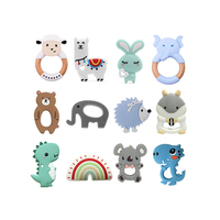 Wholesale Custom Silicone Teether Chewing Necklace BPA Free Teething Toy