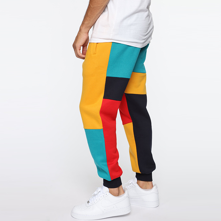 Custom Colorblock Cotton Joggers Mens Sweatpants