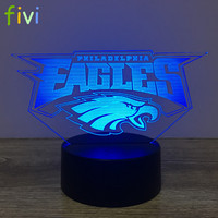 Football Team Logo 3D Lamp Table NightLight 7 Color Change Football LED Desk Light Touch Multicolored USB Power Lamp