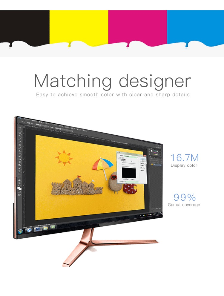 Desktop Computer 23.8 24 Inch Vga Lcd Monitor IPS Screen 178 wide Viewing Angle 12V DC