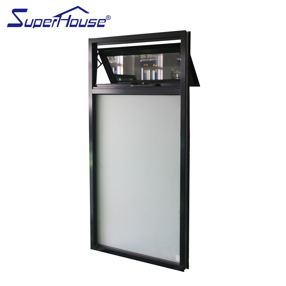 Double glazed black color commercial use frosted glass awning windows Australia chain winder
