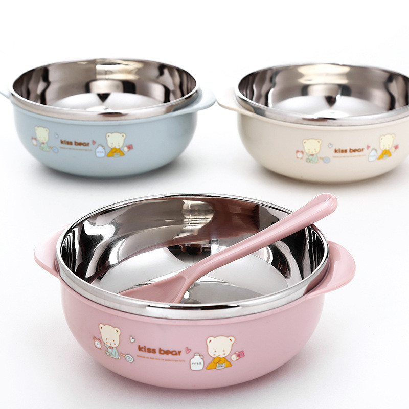 Cute Cartoon 304 Stainless Steel Children's Binaural Baby Eating Shatter-resistant Insulation Bowl