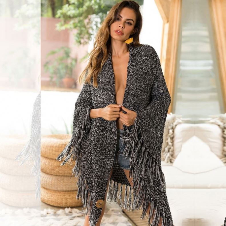 Fashion <strong>black</strong> white colors <strong>long</strong> sleeve <strong>long</strong> <strong>cardigan</strong> women fashion Knitted Sweater Hollow Knitwear tassel fringe kimono blouse