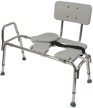 Tub Transfer Bench and Sliding Shower Chair Made of Heavy Duty Non Slip Aluminum Body and Plastic Seat