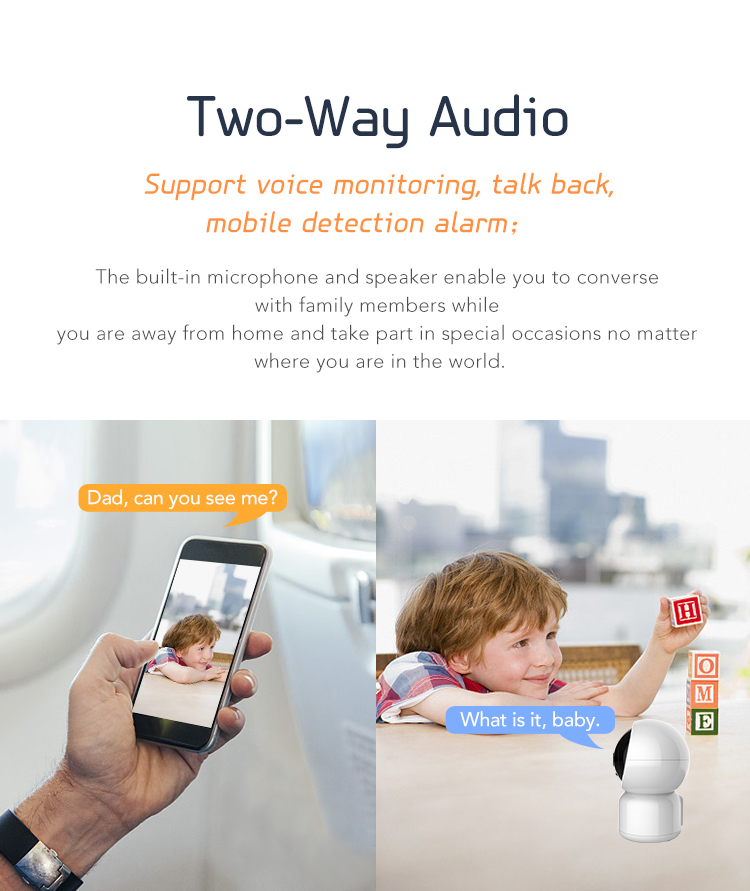 Wireless Baby Monitor CCTV Camera Automatic Tracking IP Camera OEM Design 2MP Indoor Mini CCTV Camera