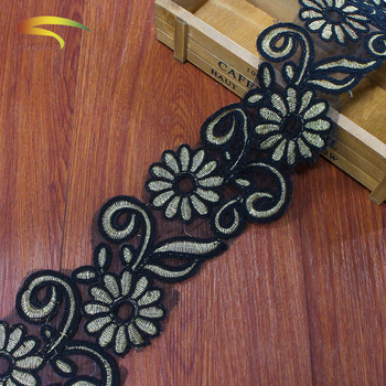 wholesale 100% Polyester fancy french 3d flower chiffon saree borders turkish black lace trimming