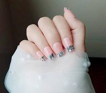 Накладные ногти, 24 шт., накладные ногти, короткие, плоская головка, простая, белая линия, ношение ногтей, черный, белый, панк, темный, накладные...(Китай)