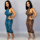 A90582 2019 Newest ladies sleeveless sexy leopard printed fashion bodycon casual club dresses for women fall clothing