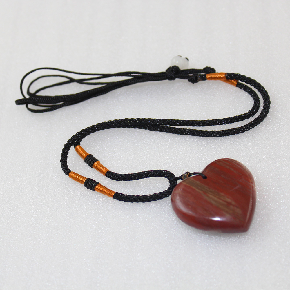 Wholesale crystals healing stones necklace polished Wood fossils Heart-shaped pendants gift