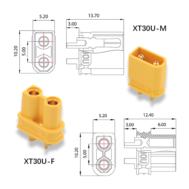 Amass XT30U Male Female Bullet Connector Upgrade XT30 XT-30 Plug For RC FPV Lipo Battery Quadcopter