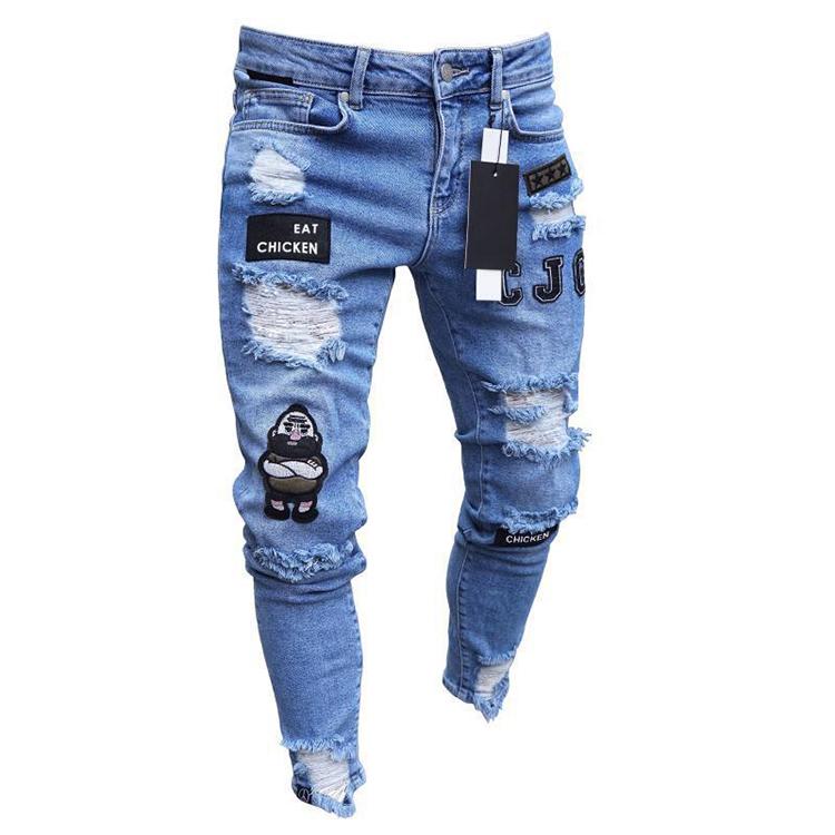 Barato De Moda Para Hombre Elastico Ripped Skinny Jeans Destruidos Grabado De Corte Slim Denim Hombres Pantalones Vaqueros Pantalones Buy De Los Hombres De La Moda Pantalones Vaqueros De Mezclilla Pantalones