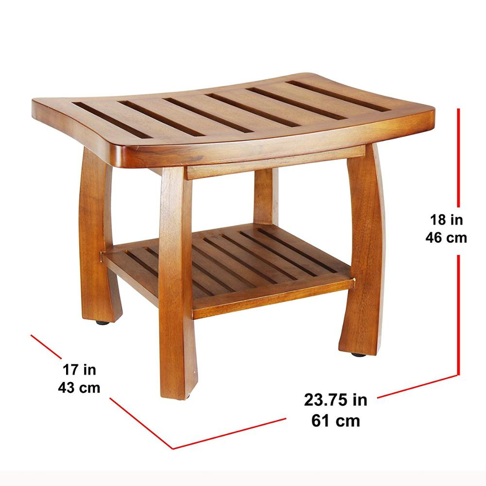 Solid Wood Spa Bench Storage Shelf For Bathroom